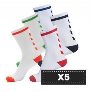Set van 5 paar lichtgekleurde sokken Hummel Elite Indoor Low (coloris au choix)