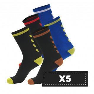 Pak van 5 paar donkere sokken Hummel Elite Indoor Low (coloris au choix)
