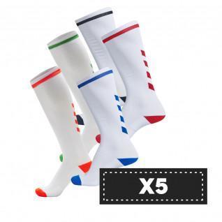 Set van 5 paar lichtgekleurde sokken Hummel Elite Indoor high (coloris au choix)