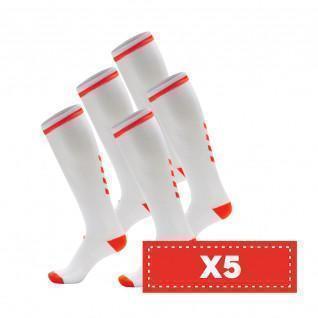 Set van 5 paar lichtgekleurde sokken Hummel Elite Indoor high