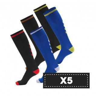 Set van 5 paar donkere Hummel Elite Indoor hoge sokken (kleurkeuze)